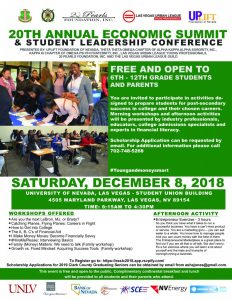 2018 Economic Summit and Student Leadership Conference Flyer